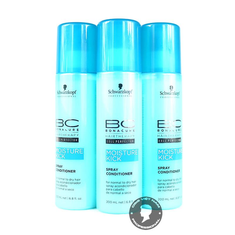Mái tóc của chúng ta luôn đối mặt với rất nhiều vấn đề như gãy rụng, khô xơ, chẻ ngọn, và lão hóa hay bị xỉn màu…Chai xịt dưỡng BC Bonacure Moisture Kick Oil Miracle sẽ là vũ khí hỗ trợ tối ưu cho mái tóc của bạn để đánh bại những tình trạng nói trên. BC Bonacure Moisture Kick Oil Miracle là một sản phẩm dưỡng ẩm chuyên sâu của Schwarzkopf – một thương hiệu chăm sóc tóc đã quá nổi tiếng tại Việt Nam với nhãn hiệu Osis+ Xuất xứ: Schwarzkopf – Đức Dung tích: 200ml