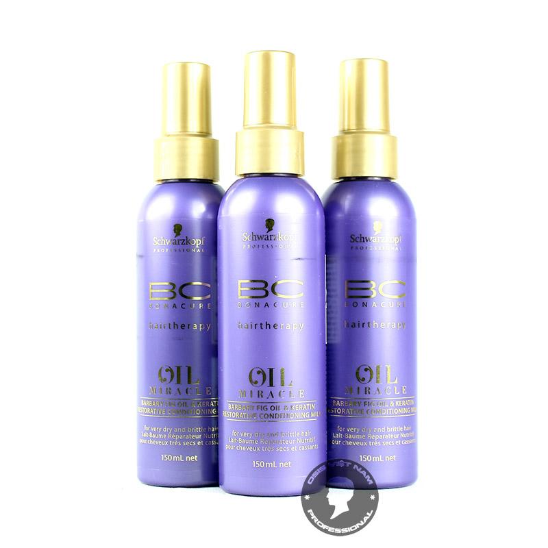 BC Oil Miracle Barbary Fig Oil Restorative Conditioning Milk là xịt dưỡng cung cấp độ ẩm dành cho mái tóc đang bị hư tổn nặng nề do trải qua nhiều lần tạo kiểu. Với khả năng thẩm thấu nhanh, những dưỡng chất thiết yếu có trong Barbary Fig Oil đi sâu vào bên trong cấu trúc tóc, lấp đầy những khoảng trống và phục hồi tối ưu tình trạng tóc khô xơ, chẻ ngọn, gãy rụng,… Hãy cùng Osis+ tìm hiểu chi tiết sản phẩm nhé! ► Xuất xứ: Đức – Schwarzkopf ► Dung tích: 150ml